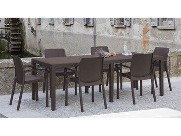 Table d'extérieur rectangulaire extensible, Made in Italy, 150 x 72 x 90 cm (extensible jusqu'à 220 cm), Couleur Marron - Dmora