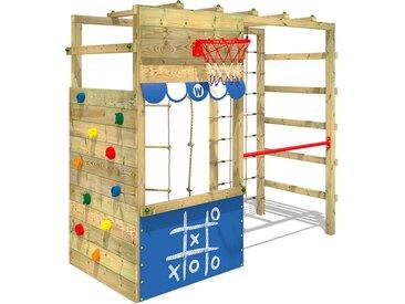 Aire de jeux bois WICKEY Smart Action avec boutique et échelle horizontale - Bleu