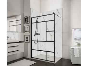 Paroi de douche à l'italienne, profilé noir à clipser, paroi fixe Walk In style industriel, NewStyle Atelier Schulte, verre 6 mm anticalcaire, 120 x 200 cm - Noir