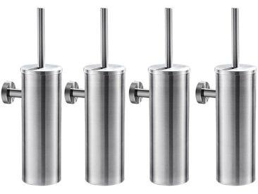 4pcs Brosse de Toilette avec Porte-balai WC Mural inox Salle de Bains Toilettes