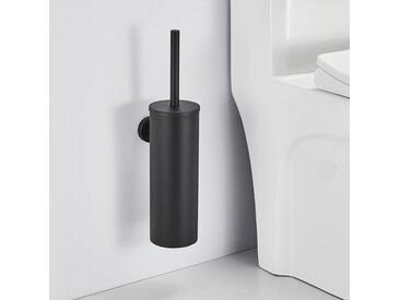 Auralum Brosse de Toilette WC Noire avec Porte-balai Mural pour Salle de Bains en Acier Inoxydable Imperméable Facile à nettoyer