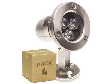 PACK Spot LED Inox Fixation au Sol 12V 3W (4 Un) Blanc Froid 6000K