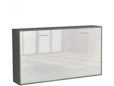Armoire lit horizontale escamotable STRADA-V2 structure gris graphite mat façade blanc brillant couchage 90*200 cm. - bi color