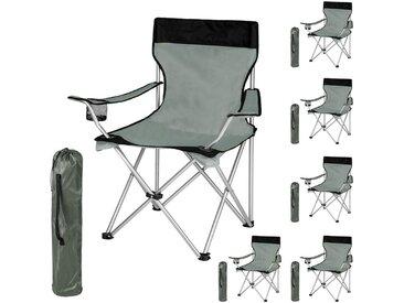 Lot de 6 Chaises de Camping pliables avec Porte Gobelet et Housse Sac de Transport Noir Gris