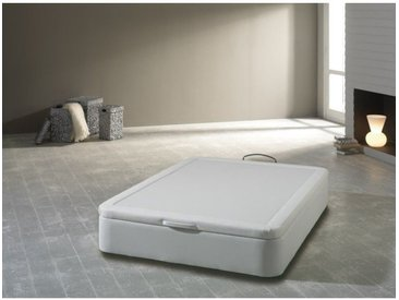 Sommier coffre tapissier 160x200cm en simili-cuir blanc BALEA - L 200 x l 160 x H 32 - Blanc