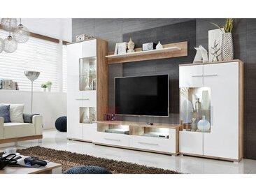 CLUB | Unité murale style contemporain 4 pcs | Éclairage LED inclus | Mur TV | Ensembles meubles salon | Meuble bas TV | Blanc/Chêne - Blanc/Chêne