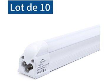 10×Auralum T5 Tube LED 60CM Tube de Lumière Fluorescente 8W avec Réglette Complète Blanc Froid 6000K IP20