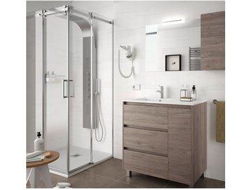 Meuble de salle de bain sur le sol 85 cm Chêne eternity avec lavabo en porcelaine   Avec miroir et lampe LED - 85 cm