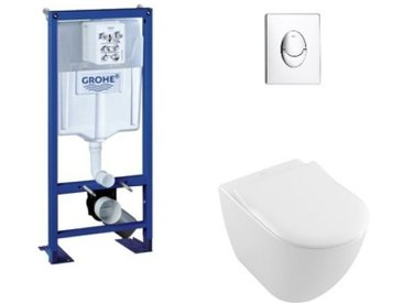 Pack WC Grohe Rapid SL + Cuvette Subway 2.0 Villeroy + Plaque Chromée