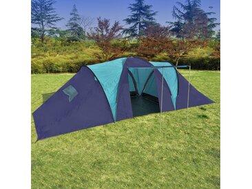 Hommoo Tente de camping 9 personnes Bleu foncé et Bleu