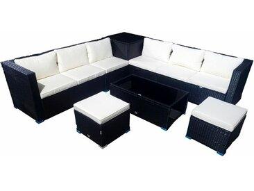 Ensemble de mobilier d'extérieur pour canapé d'angle de jardin ou terrasse 6 places + 2 cubes pouf + 1 coffre + table