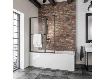 Schulte - Pare-baignoire rabattable, sans percer, 109 x 140 cm, écran de baignoire pivotant à coller, paroi de baignoire 2 volets verre 3 mm, profilé noir, verre transparent - Transparent