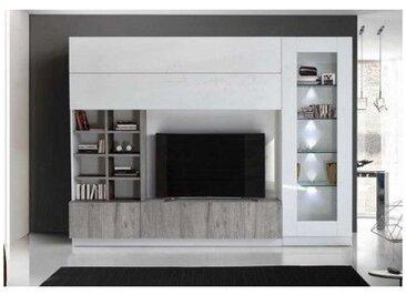 Ensemble meuble TV LINO gris 280 cm - Blanc