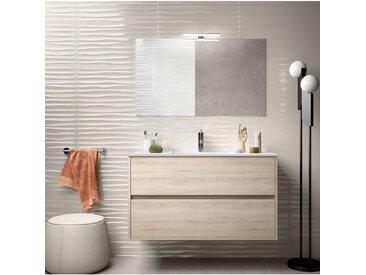 Meuble de salle de bain suspendu 100 cm marron Caledonia avec lavabo en porcelaine | Avec miroir et lampe LED