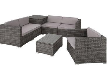 Tectake - Canapé de jardin PISE 5 places avec coffre de rangement, variante 2 - table de jardin, mobilier de jardin, fauteuil de jardin - gris