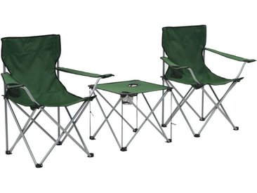 Hommoo Table et chaises de camping 3 pcs Vert