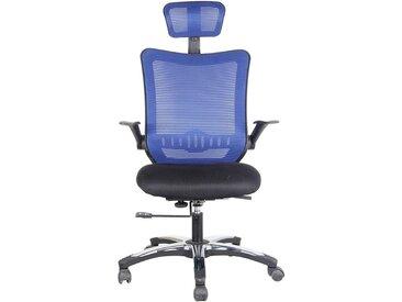 Chaise pivotante de bureau Optima - avec dossier respirant et appuie-tête, bleu