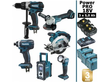 Pack Makita Power PRO 6 outils 18V: Perceuse DDF458 + Visseuse à choc DTD152 + Meuleuse DGA504 + Scie circulaire DSS610 + Radio DMR108 + Lampe Torche LED + 3 batt 5Ah + 3 Coffrets Makpac MAKITA