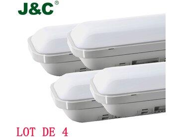 4×J&C Néon Tube LED 120CM 36W Tube LED Anti-Choc IP65 Lumière LED 3000LM Blanc Neutre 4000K