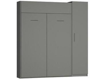 Composition lit escamotable DYNAMO gris mat Couchage 140 x 200 cm colonne armoire - gris