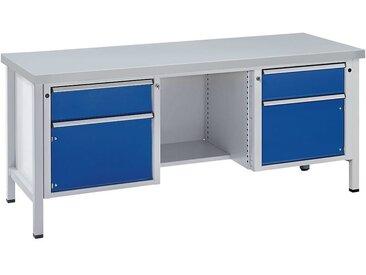 Etabli, stable - 2 tiroirs, 2 portes, ½ tablette - revêtement en tôle d'acier, extraction partielle