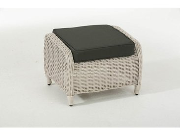 Tabouret bas Treviso rond/blanc perle Anthracite