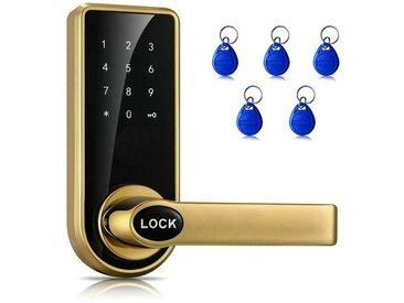 Serrure Mot de Passe + bronze et or Clé + Carte de Capteur En Alliage de Zinc Rouge Électronique de Porte Écran Tactile à Code