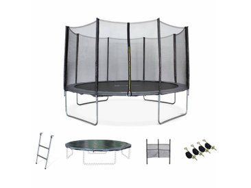 Pack Trampoline Ø400cm - Mercure XXL gris, filet de protection, échelle, bâche, filet chaussures, kit d'ancrage 400 cm 4m