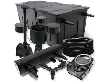 SunSun Kit filtration bassin 90000l 24W Stérilisateur NEO10000 80W Pompe 25m Tuyau Skimmer Fontaine
