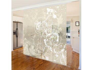 Ensemble de rideaux coulissants - Nacre Ornament Design - 4 Rideaux à panneaux Dimension: 250 x 240cm (4 rideaux á 250 x 60cm); Système de montage: montage au plafond