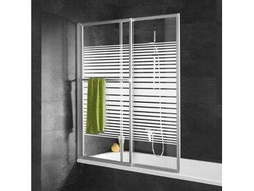 Pare-baignoire coulissant et rabattable, 70 - 118 x 140 cm, Schulte paroi de baignoire extensible 2 volets, verre 3 mm, profilé alu nature, décor rayures horizontales - Décor rayures horizontales