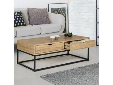 Idmarket - Table basse 2 tiroirs DETROIT design industriel