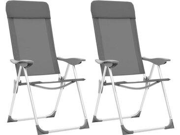 Chaises de camping pliables 2 pcs Gris Aluminium