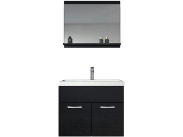 Meuble de salle de bain de Montreal 02 - Armoire de rangement Meuble lavabo evier Meuble lavabo Noir brilliant 60x35 cm