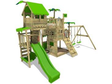 FATMOOSE Aire de jeux Portique bois PacificPearl avec balançoire et toboggan vert pomme Maison enfant exterieur avec bac à sable, échelle d'escalade