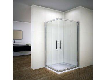 Porte de douche 90x90x195cm Cabine de douche accès d'angle Porte coulissante verre sécurit