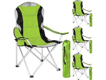 Lot de 4 Chaises de Camping pliables avec Porte Gobelet et Housse Sac de Transport Noir Vert