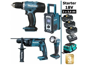 Pack Starter Makita 18V: Perceuse 42Nm DDF453 + Perforateur 1,3J DHR165 + Radio DMR108 + Lampe torche DEADML802 + 3 batteries 3Ah + sac