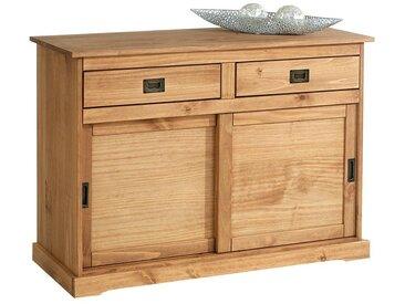 Idimex - Buffet SAVONA bahut vaisselier commode avec 2 tiroirs et 2 portes coulissantes, en pin massif lasuré brun