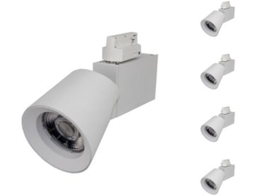 Spot LED sur Rail 25W 38° Monophasé BLANC (Pack de 5) - Blanc Chaud 2300K - 3500K