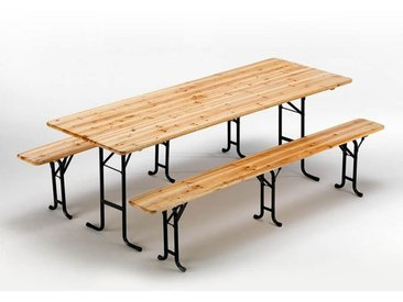 Table de brasserie bancs en bois 3 jambes pliant ensemble 220x80 10 pcs
