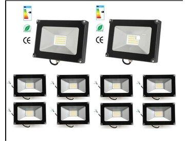 10×Anten 30W Projecteur LED Léger Spot LED Étanche IP65 Lampe Solide pour Extérieur et Intérieur Blanc Chaud 3000K Coque Noir