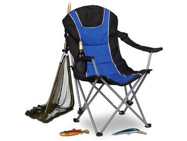 Chaise de camping pliable fauteuil de pêche rembourré avec porte-boissons dossier réglable HxlxP: 108 x 90 x 72 cm, bleu noir