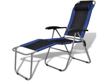 Chaise inclinable de camping 2 pcs bleu et noir - MAJA+ MJ42020