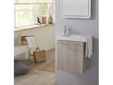 Pack lave mains Chêne blanchi caledonia avec lave mains porte serviette et robinetterie eau froide