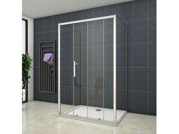 Cabine de douche en forme U 130x70x70x190cm une porte de douche coulissante + 2 parois latérales