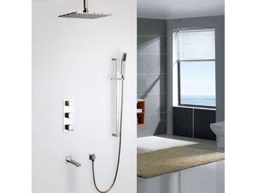 Système thermostatique moderne de douche de pluie sur plafond balayé au nickel brossé avec Vanne de douche thermostatique Barre de douche Avec LED 300 mm