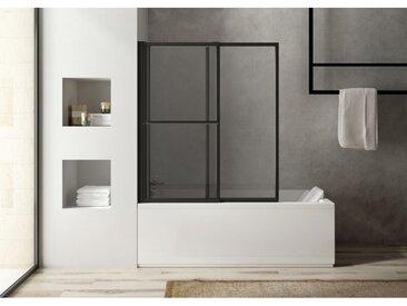 Atelier Du Bain - Pare-baignoire coulissant et relevable SECURE Noir mat - 2 volets