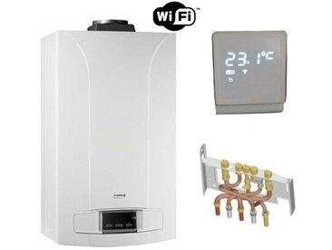 Chaudière Gaz BasNox Zena Econox MSN De Dietrich 24 kW / Cheminée Complète (Douilles + Dosseret) avec Thermostat Connecté