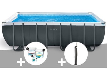 Kit piscine tubulaire Intex Ultra XTR Frame rectangulaire 5,49 x 2,74 x 1,32 m + Kit de traitement au chlore + Douche solaire